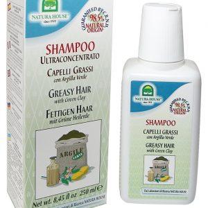 натуральный итальянский шампунь с зеленой глиной для жирных волос Natura House
