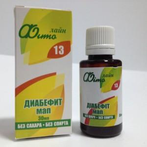 Растительный водный экстракт Диабефит МАП для нормализации углеводного и жирового обмена при сахарном диабете и избыточной массе тела