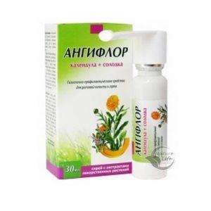 АнгиФлор Спрей Календула+Солодка как гигиенически-профилактическое средство для ротовой полости и горла, при заболеваниях горла, ангины