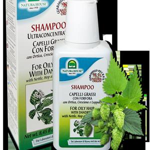 натуральный итальянский шампунь для жирных волос Крапива и Хмель без парабенов