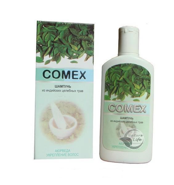 аюрведический шампунь Comex из индийских трав для предотвраения выпадения волос и улучшения состояний кожи головы