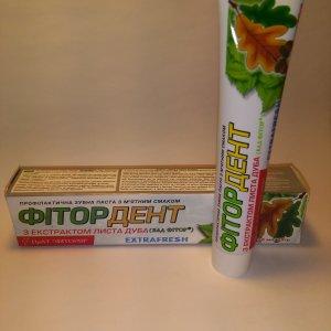 натуральная лечебная зубную паста Фитор-дент на основе экстракта дуба для укрепления десен, лечения парадантоза