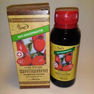масло плодов шиповника (олія плодів шипшини) для употребления при проблемах органов зрения, желудка, сердечнососудистой системы, печени , каротинов 20%