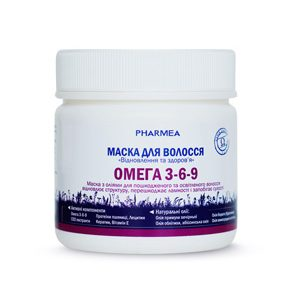 Омега 3-6-9 TM Pharmea для улучшения состояния сухих волос на основе Омега 3-6-9, протеинов пшеницы, лецитина, кератина, витамина Е